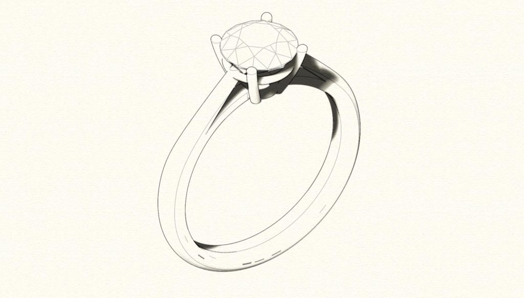 4 Prongs Solitaire Engagement Ring