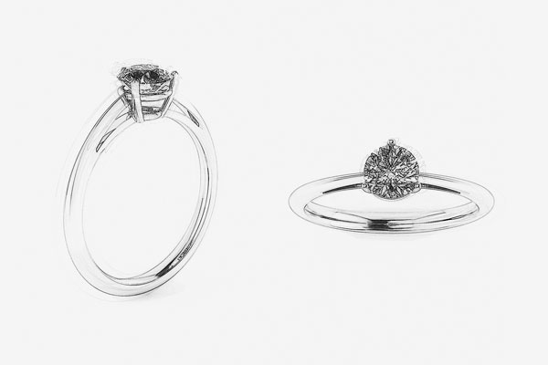 3-Prong Solitaire Engagement Ring-Drawing