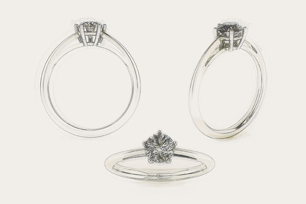 5-Prong Solitaire Engagement Ring-Drawing