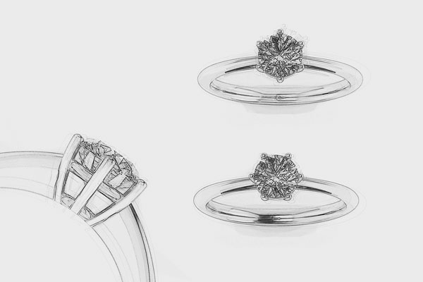 6-Prong Solitaire Engagement Ring-Drawing