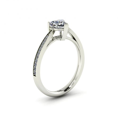 Fancy Love Engagement Ring (Perspective View) - Draco Diamonds
