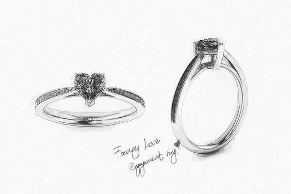 Fancy Love Engagement Ring-Drawing