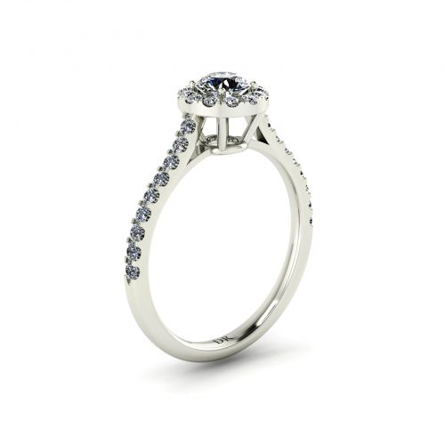 Halo Engagement Ring (Perspective View) - Draco Diamonds