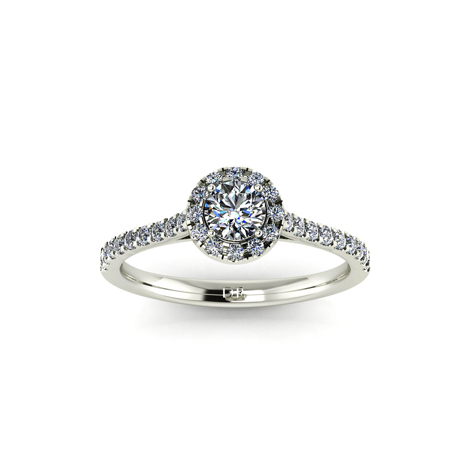 Halo Engagement Ring (Top View) - Draco Diamonds