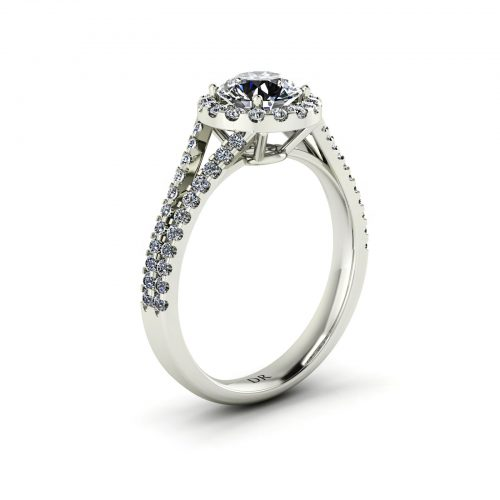 Halo Twin Engagement Ring (Perspective View) - Draco Diamonds