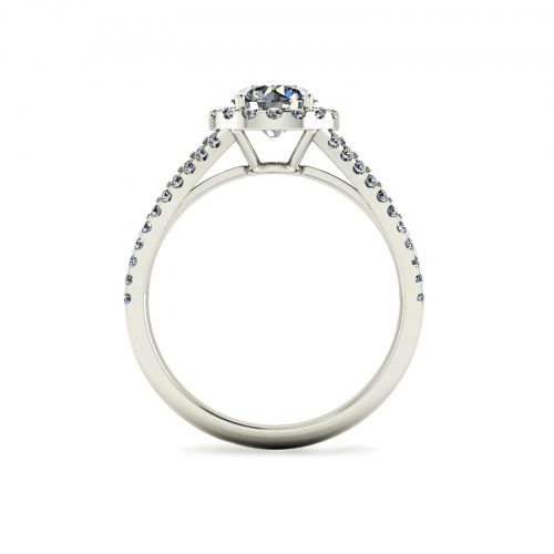 Halo Twin Engagement Ring (Through View) - Draco Diamonds