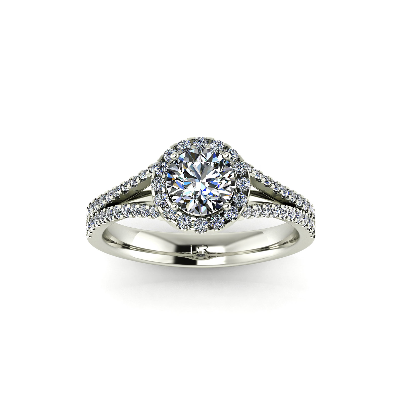 Halo Twin Engagement Ring (Top View) - Draco Diamonds