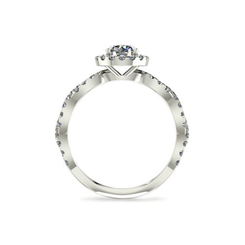 Halo Arc Engagement Ring (Through View) - Draco Diamonds