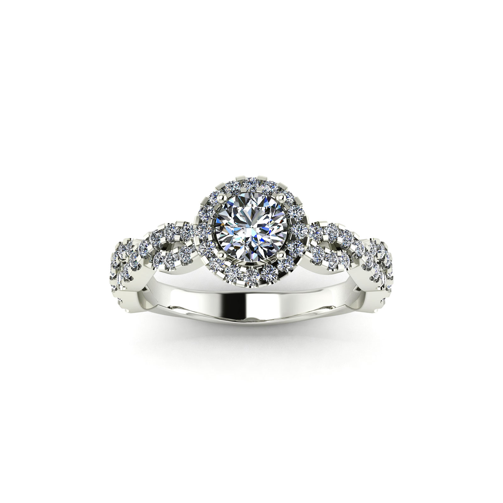 Halo Arc Engagement Ring (Top View) - Draco Diamonds