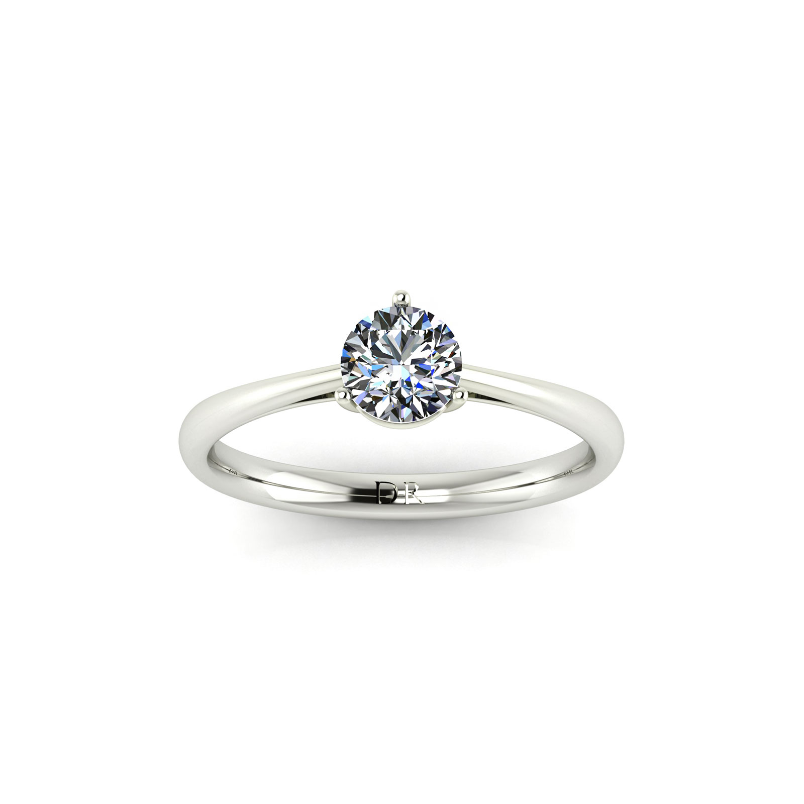 3-Prong Solitaire Engagement Ring (top view) - Draco Diamonds