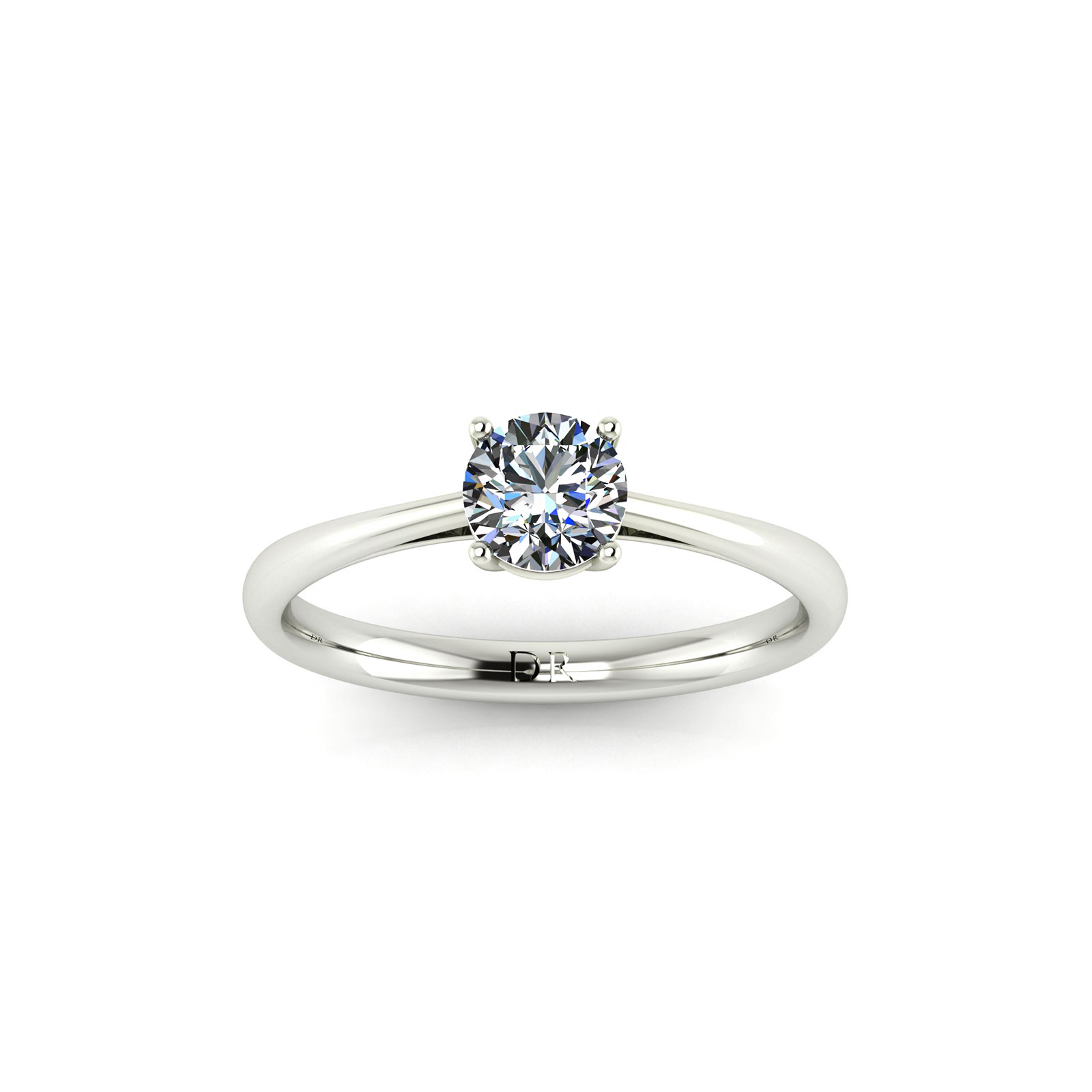 4-Prong Solitaire Engagement Ring (Top View) - Draco Diamonds
