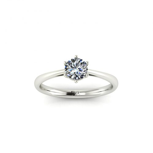 6-Prong Solitaire Engagement Ring (Top View) - Draco Diamonds