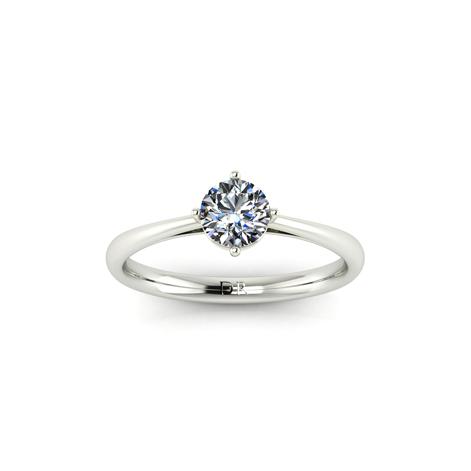 Modified 4-Prong Solitaire Engagement Ring (Top View) - Draco Diamonds