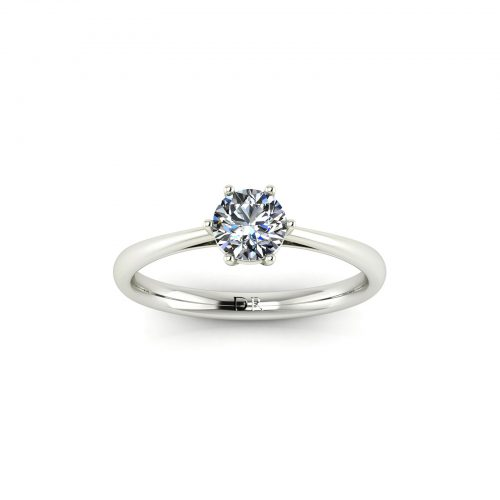 Modified 6-Prong Solitaire Engagement Ring (Top View) - Draco Diamonds