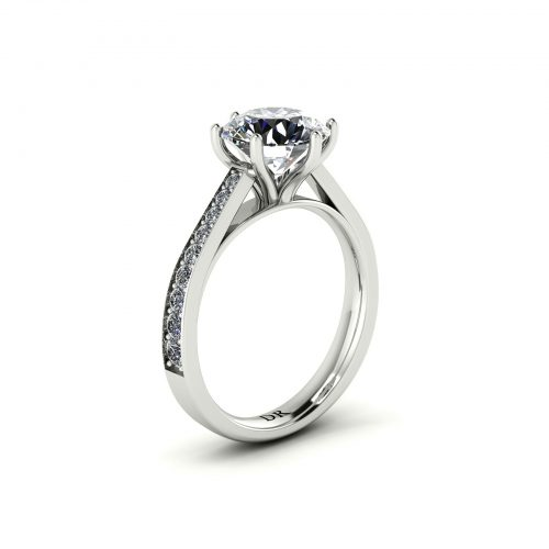 Bright-cut Pave Engagement Ring (Perspective View) - Draco Diamonds