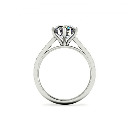 Bright-cut Pave Engagement Ring (Through View) - Draco Diamonds