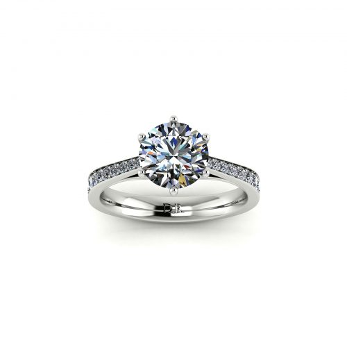 Bright-cut Pave Engagement Ring (Top View) - Draco Diamonds