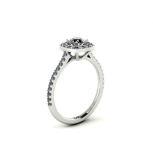 C.Halo Engagement Ring (Perspective View) - Draco Diamonds