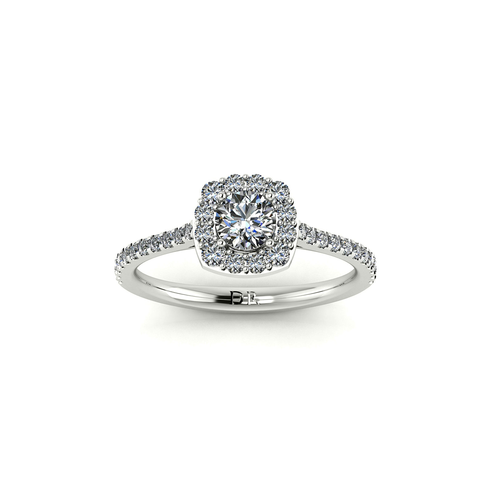 C.Halo Engagement Ring (Top View) - Draco Diamonds