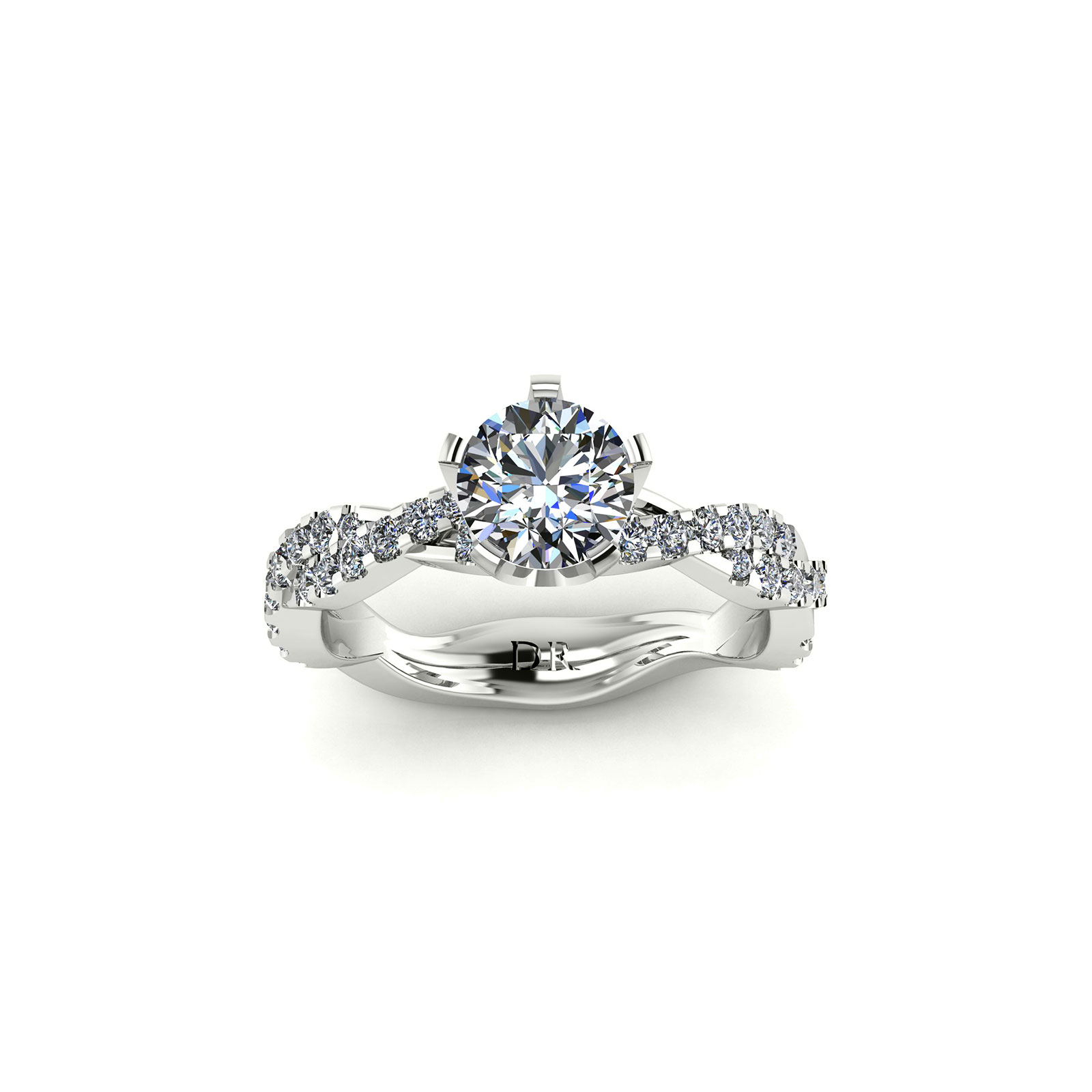 Entwine Crown Engagement Ring (Top View) - Draco Diamonds