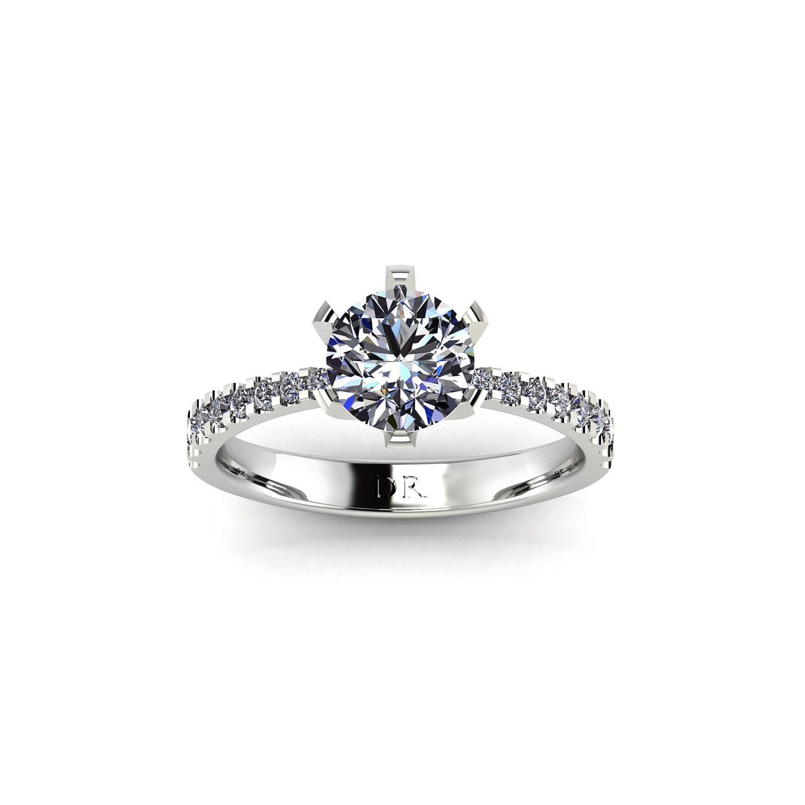 U-cut Pave Tapered Engagement Ring (Top View) - Draco Diamonds