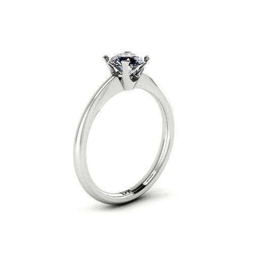 Tapered 4-Prong Solitaire Engagement Ring (Perspective View) - Draco Diamonds
