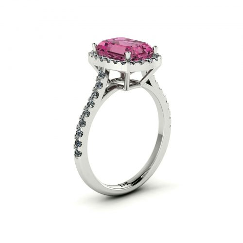 Pink Tourmaline Halo Engagement Ring (Perspective View) - Draco Diamonds