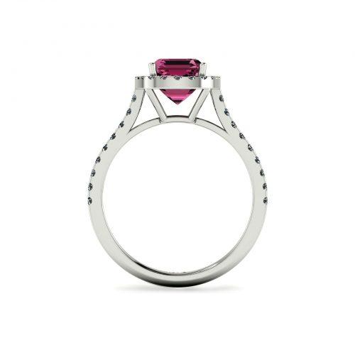 Pink Tourmaline Halo Engagement Ring (Through View) - Draco Diamonds