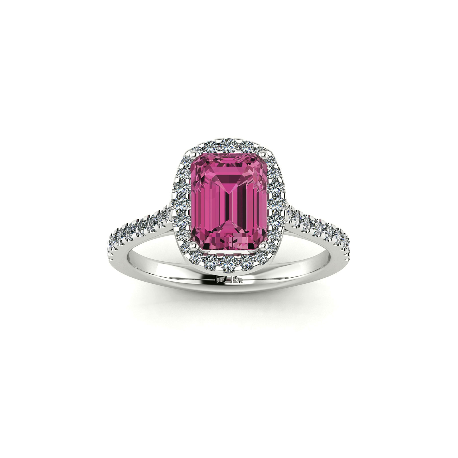 Pink Tourmaline Halo Engagement Ring (Top View) - Draco Diamonds