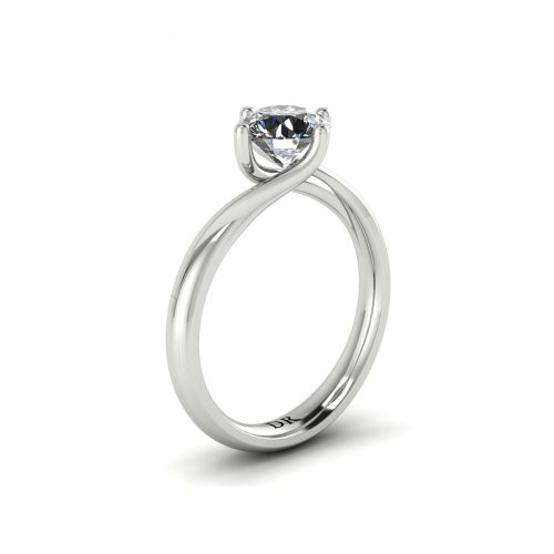 Twirl-Prong Solitaire Engagement Ring (Perspective View) - Draco Diamonds