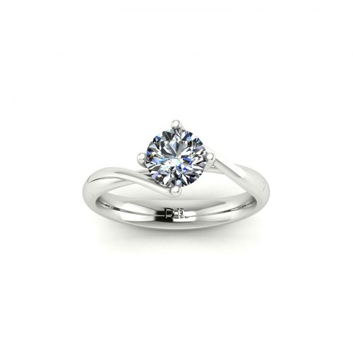 Twirl-Prong Solitaire Engagement Ring (Top View) - Draco Diamonds