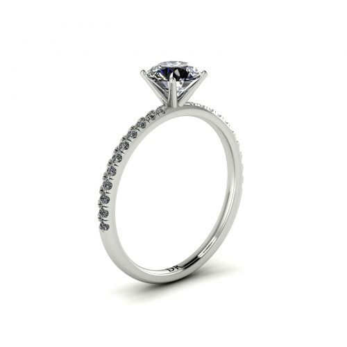 U-cut Pave Engagement Ring (Perspective View) - Draco Diamonds