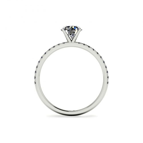 U-cut Pave Engagement Ring (Through View) - Draco Diamonds