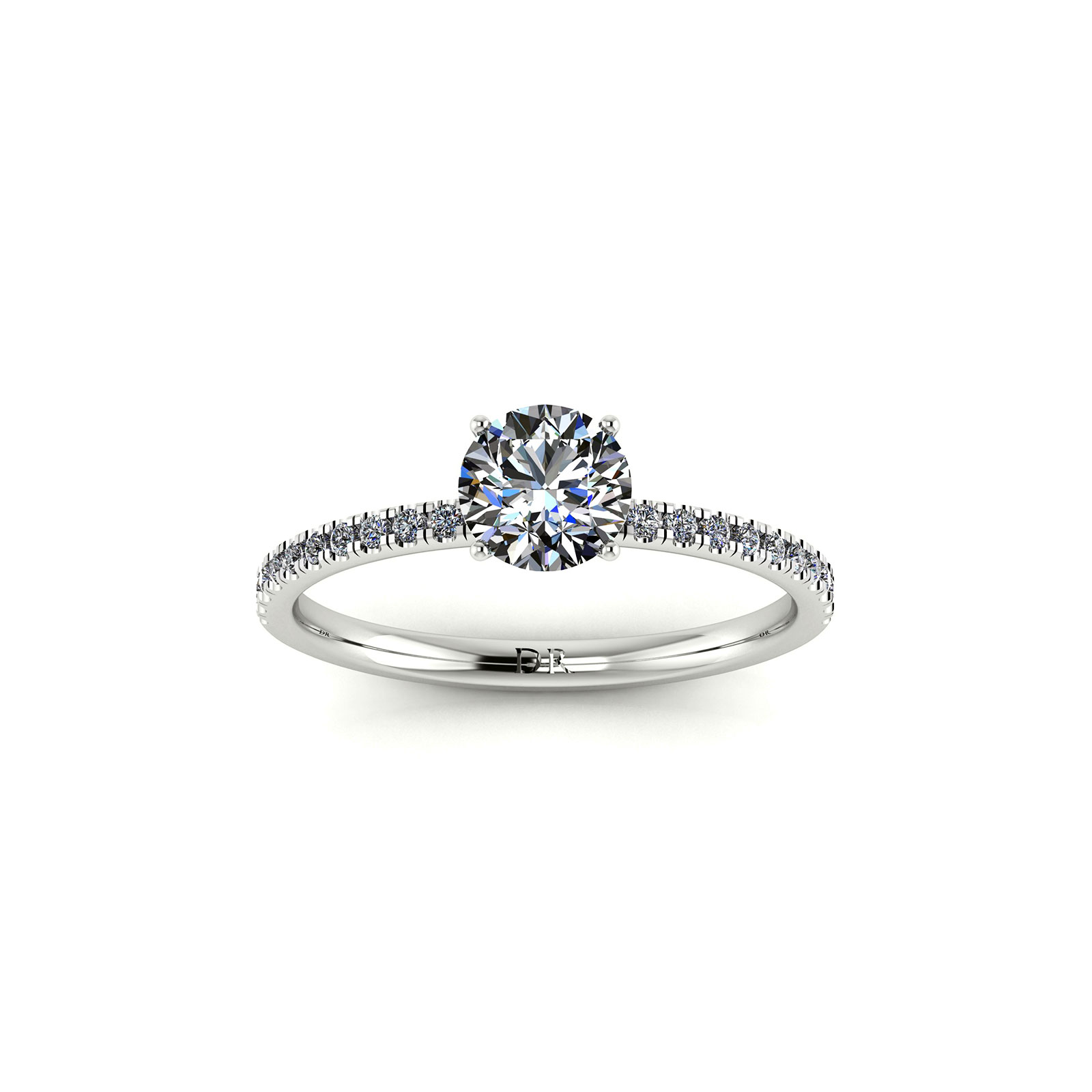 U-cut Pave Engagement Ring (Top View) - Draco Diamonds