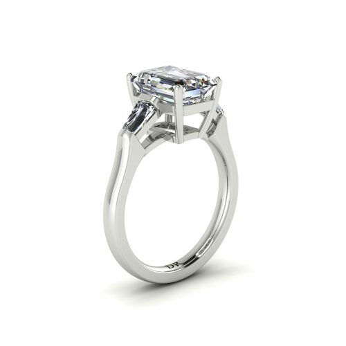 Emerald-cut Engagement Ring (Perspective View) - Draco Diamonds
