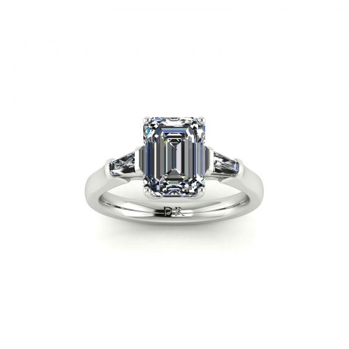 Emerald-cut Engagement Ring (Top View) - Draco Diamonds