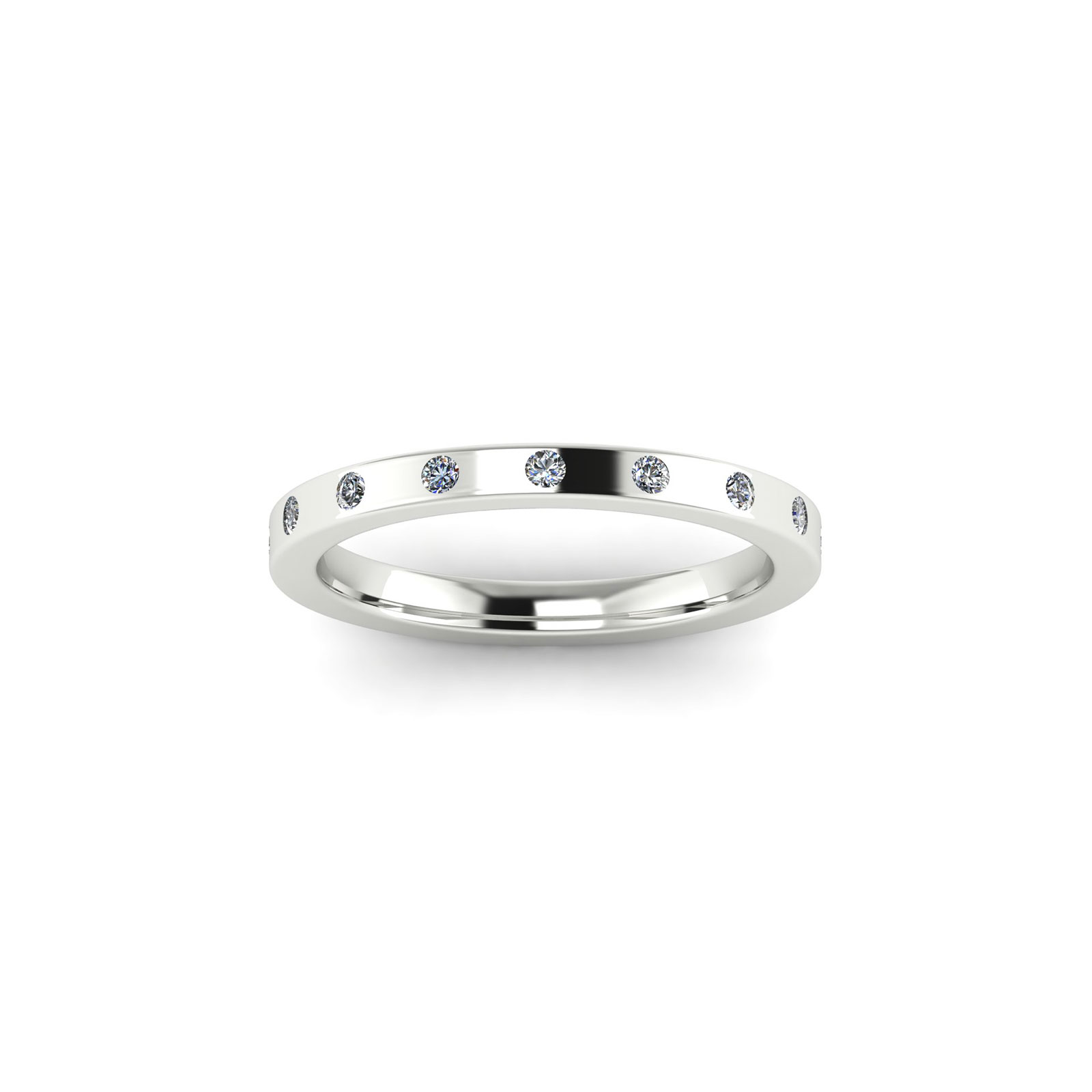 Sparse-Eternity Wedding Band (Top View) - Draco Diamonds